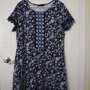 Dorothy Perkins Blue Short Sleeve Dress - Size 16